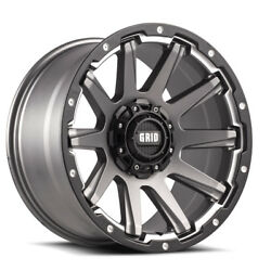 20x10 Grid Offroad Gd05 Graphite Wheels 8x165.1 -25 125 Set Of 4