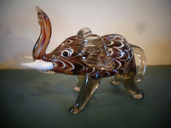 Vintage Miniature Pulled Feather Blown Glass Elephant Figurine