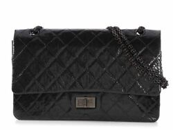 New CHANEL 2016 So Black Quilted Patent Reissue 227 Double Flap Bag Purse