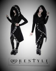 Restyle White Runes Moon Long Black Jacket Hoodie for Emo Gothic Goth Punk Women