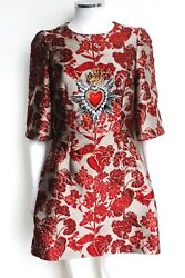 Dolce And Gabbana Red Floral Jacquard Embellished Mini Dress It 40 Uk 8 Andpound4206