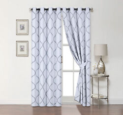 2 Pack Hunter Blackout Gray And White Trellis Window Curtains - Assorted Sizes