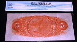 1929 Bank Of Toronto 5 Large Chartered Banknote