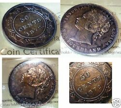 Golden Brown Toned 1872h Canada ,newfoundland Fifty Cents Iccs Certified