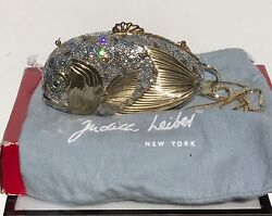 Vintage Judith Leiber Crystal Gold Tone Koi Fish Design Minaudiere Clutch Bag.