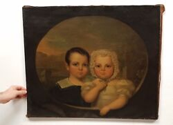Early Antique 19th C. Oil Painting Of Two Children Mary And James Beigen