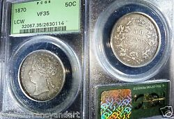 1870 Canada Fifty Cents Pcgs Vf35