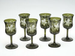 Set Of 6 Antique Bohemian Czech Green Etched Grape And Leaf Wine Glass Goblet
