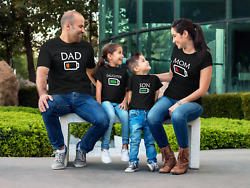 Battery Family Shirts Matching Shirts Low Level Mom Dad Daughter Son Fathers Day