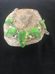 Native American 18 Green Mohave Turquoise Sterling Silver Necklace Usa S1003