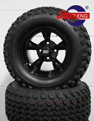 Golf Cart 12 Black 'godfather' Wheels / Rims And 23 All Terrain Tires 4