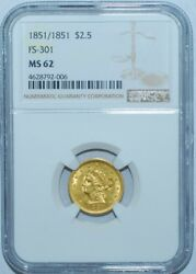 1851 Ngc Ms62 Fs-301 Rpd Repunched Date 2.50 Gold Liberty Head Quarter Eagle