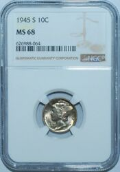1945 S Ngc Ms68 Mercury Dime Rainbow Toned Strong Nearly Full Bands