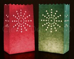 10 Red and Green Luminary Bags - Flame Resistant Paper - Christmas Holiday Event