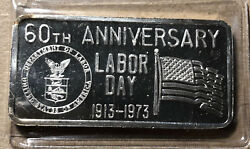 1973 Labor Day 60th Anniversary Great Lakes Mint 1 Ounce .999 Silver Art Bar