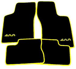 Black Velours Floor Mats For Opel Manta 400 1981-1984 Carpet With Yellow