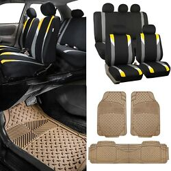 Modernistic Yellow Black Auto Car Seat Covers W/trimmable Vinyl Floor Mats