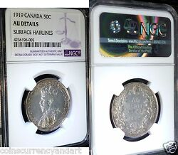 1919 Canada,  50 Fifty Cents , Ngc Certified Au Details