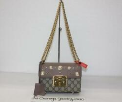 Gucci 432182 Padlock Small GG Supreme Canvas & Leather Studded Shoulder Bag