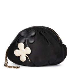 CHANEL BLACK SATIN FOUR LEAF CLOVER TIMELESS WRISTLET CLUTCH  HB1570