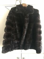 Chocolate Brown Real Mink Fur Jacket Coat Fox New Made In Italy Uk M/l