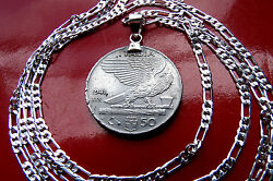 Mussolini Era Italian Flying Liberty Pendant And 24 .925 Sterling Silver Chain