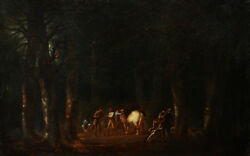 French Oil Painting School Or German Scene Hunting Bear Vision Dark Forest