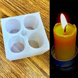 Silicone Taper Candle Mold 4 Cavities Round Cylinder Pillar Mould