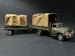 Vintage Japan Tin Litho Friction U.s. Army Truck And Trailer Green Military Toy