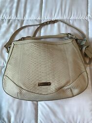 Authentic New BURBERRY Women Beige BARTOW Leather Python Hobo Crossbody Bag 3035