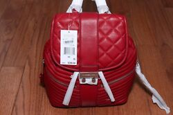 NWT Michael Kors $398 Elisa Quilted Leather Small Backpack Handbag Cherry