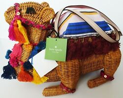 Kate Spade Spice Things Up Wicker Camel Bag Clutch NWT
