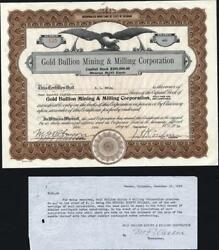 Gold Bullion Mining And Milling Co, 1928, Deadwood, S.d., Uncancelled Stock Cft.