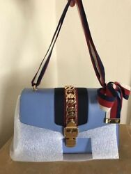 NWT Gucci Small Sylvie Blue Leather Bag
