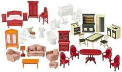 Kids Dollhouse Furniture Wooden Upholstered Victorian Pretend Play 35 Pc New