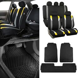 Yellow/black Car Seat Covers W/3 Piece Heavy Duty Rubber All Weather Floor Mats