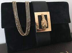 Vintage Gucci Suede & Leather Clutch Evening Bag Black Gold Chain Tom Ford Era