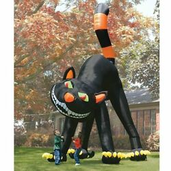 20ft Lovely Animated Giant Inflatable Black Cat For Halloween Decoration T