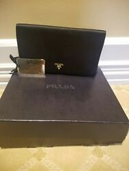 PRADA Black Satin Clutch Evening Bag With BoxGold Card