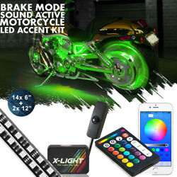 16x Motorcycle Led Under Glow Light Kit Multi-color Neon Strip Bluetooth Control