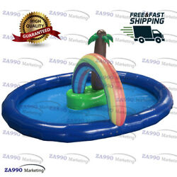 26x23ft Commercial Inflatable Pool With Tree And Rainbow Archway With Air Pump