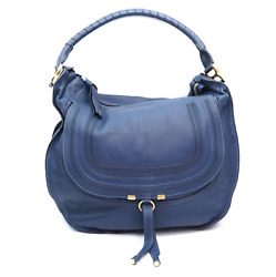 Chloe Designer Marcie Navy Blue Extra Large Leather Hobo Shoulder Bag