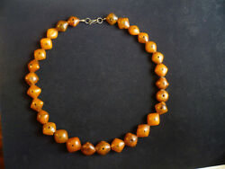 Antique Rare African Strand Of Diamond-shaped Amber