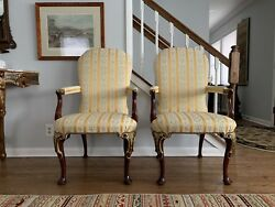 Pair of KINDEL Irish Georgian Arm Oxford Gold Leaf Dining Chairs - RARE!!!