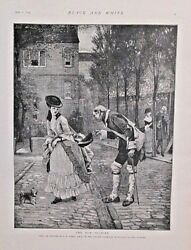 The Old Soldier by G.A Storey Pretty Lady Dog Vintage 1893 Antique Art Print