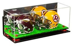 Mini Football Helmet Display Case With Red Risers Mirror Turf Base And Wall Mount