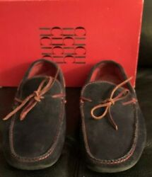 Authentic Men's Ch Carolina Herrera Navy Blue Suede Loafers Shoes Sz 8 / Spain