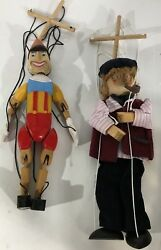 Vintage Extremely Rare Tellon Collections Pinocchio And Geppetto Wooden Marionette