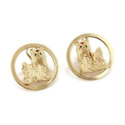 Estate Ruby 14k Yellow Gold Yorkshire Terrier Dog Round Post Clip Earrings