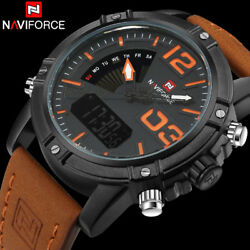 Naviforce Brand Dual Display Watch Men Sport Quartz Led Watches Leather Band